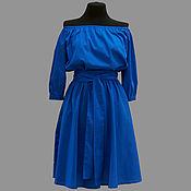 Одежда ручной работы. Ярмарка Мастеров - ручная работа Летнее платье модель 12-42 из хлопкового материала темно-синего цвета.. Handmade.