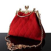 Classic Bag handmade. Livemaster - original item Bright red suede evening bag. Handmade.