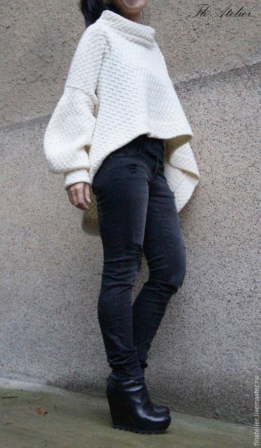 Жилеты ручной работы. Ярмарка Мастеров - ручная работа. Купить Асимметричный теплый свитер/ Maxi Блузка/F1502. Handmade. Белый