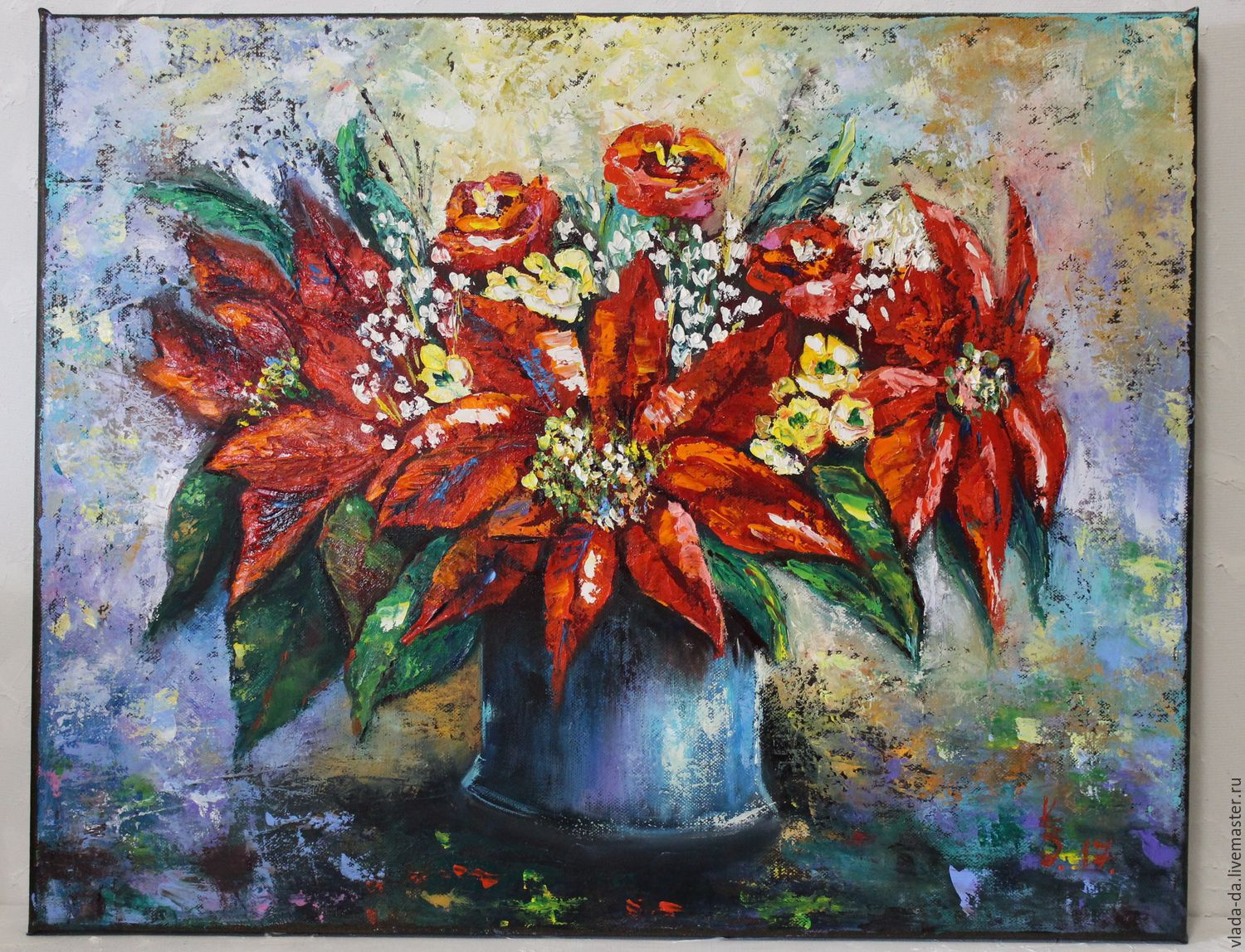 Oil painting Poinsettias the Christmas star – shop online on ...