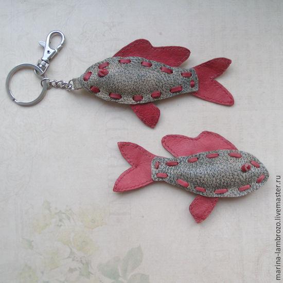 Брелок рыбка-красноперка из кожи, Брелок, Москва,  Фото №1