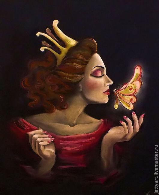 Фэнтези ручной работы. Ярмарка Мастеров - ручная работа. Купить Бабочка. Handmade. Бабочка, женский образ, картина пастелью