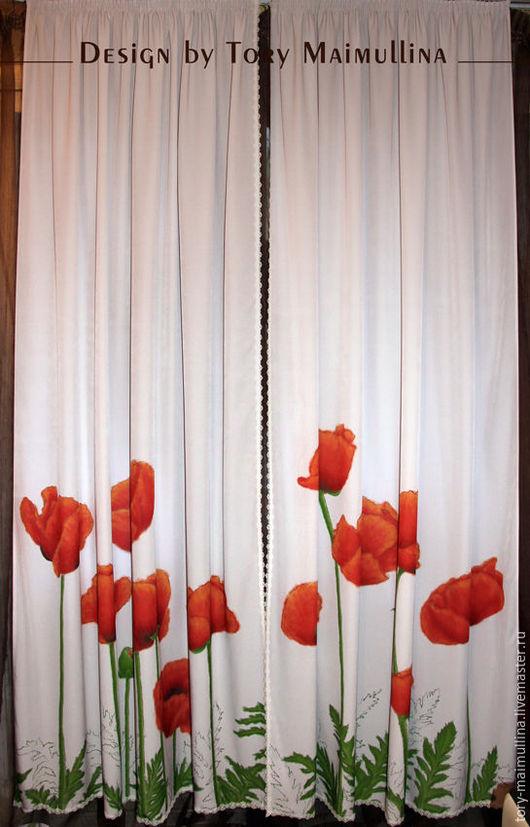 """Текстиль, ковры ручной работы. Ярмарка Мастеров - ручная работа. Купить Авторские шторы и подушки """"Маки"""".. Handmade. Комбинированный, шторы"""