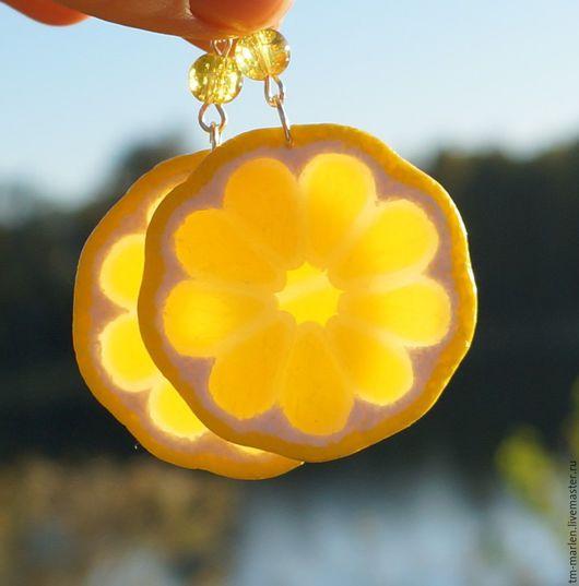 Серьги ручной работы. Ярмарка Мастеров - ручная работа. Купить Серьги лимонные дольки из полимерной глины. Handmade. Лимонный