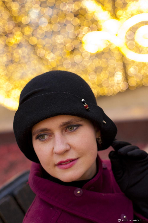Hat Cloche-bowler ' Dark night», Hats1, Moscow,  Фото №1