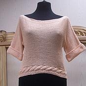 Одежда ручной работы. Ярмарка Мастеров - ручная работа Кроп свитер вязаный Монвизо,хлопок Италия. Handmade.