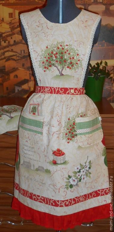 Кухня ручной работы. Ярмарка Мастеров - ручная работа. Купить Фартук женский 2 в 1. Handmade. Фартук для кухни, яблоня