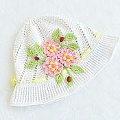 Аксессуары handmade. Livemaster - original item Panama with flowers for girls. Handmade.