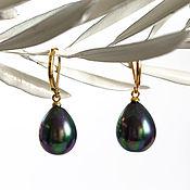Украшения handmade. Livemaster - original item 18841_Серьги with pearls 12x15 mm, gold Plated earrings, Pearl peacock.. Handmade.