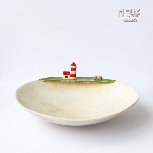"""Тарелки ручной работы. Ярмарка Мастеров - ручная работа. Купить Блюдо """"На границе с океаном"""". Handmade. Керамика, маяк, посуда"""