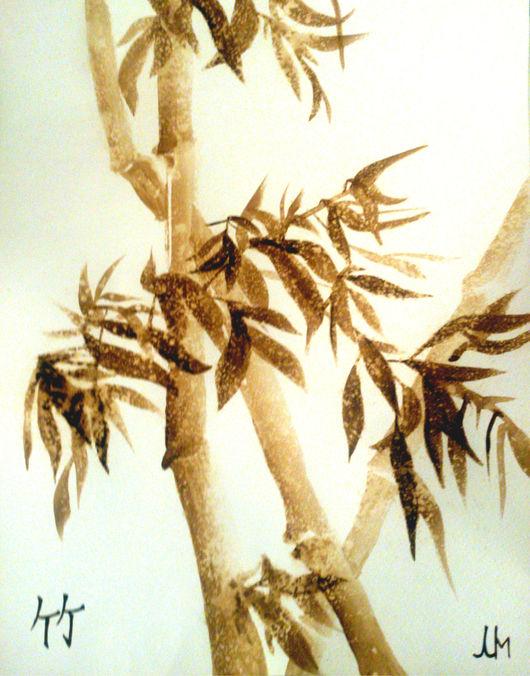 Картины цветов ручной работы. Ярмарка Мастеров - ручная работа. Купить Заснеженный бамбук. Handmade. Коричневый, кофейный, картина в подарок
