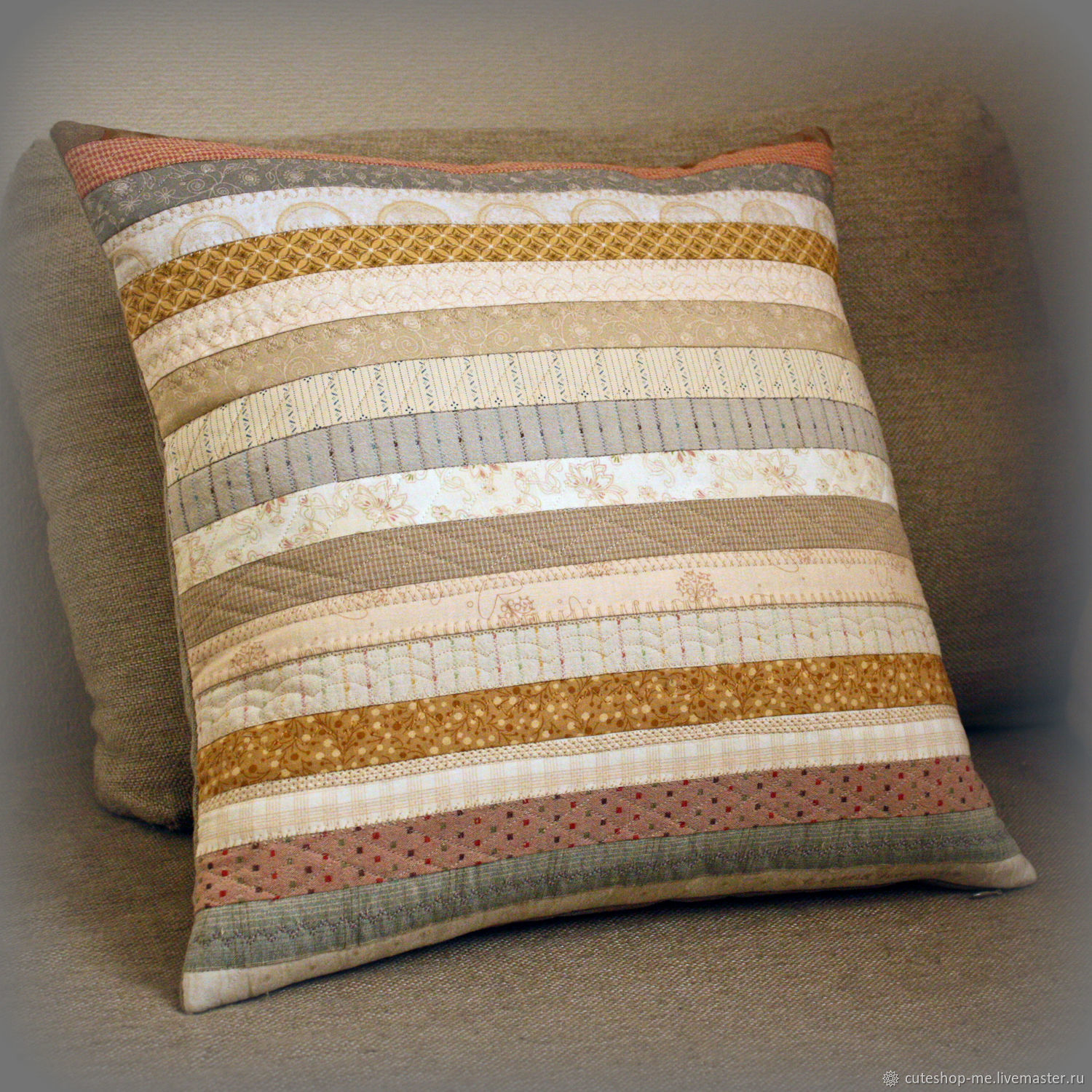 Decorative cushion made of cotton and natural linen. Quilt, Interior elements, Moscow,  Фото №1