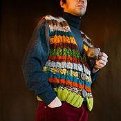 Одежда handmade. Livemaster - original item Men`s knitted vest. Warm knit vest. Bright mens vest. Handmade.