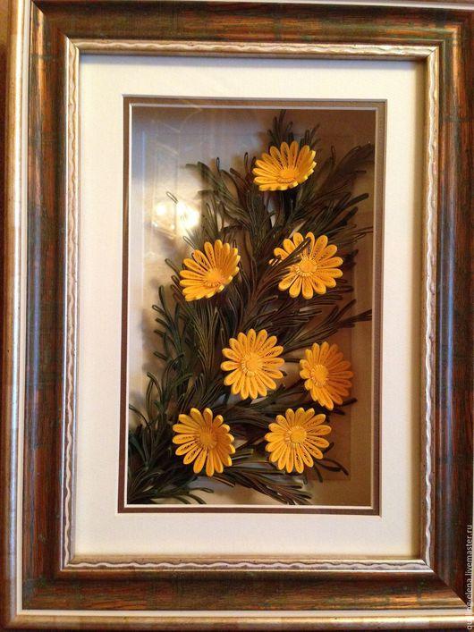 """Картины цветов ручной работы. Ярмарка Мастеров - ручная работа. Купить Картина - панно """"Кореопсис"""" (садовые многолетние цветы). Handmade."""