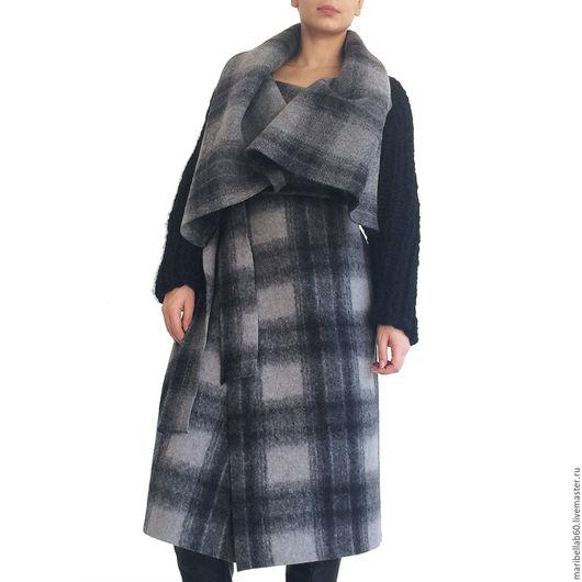 Верхняя одежда ручной работы. Ярмарка Мастеров - ручная работа. Купить Пальто с большой капюшон,в клетку  SAMURAI CHECKED. Handmade. Комбинированный