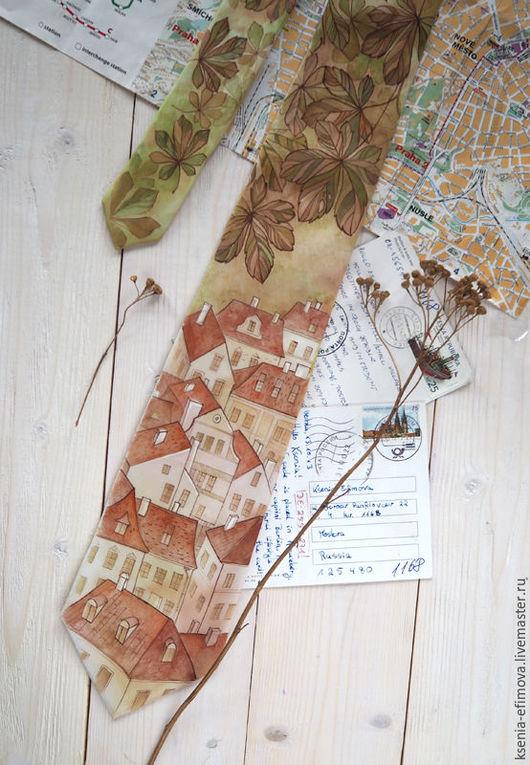 Галстуки, бабочки ручной работы. Ярмарка Мастеров - ручная работа. Купить Осенняя Прага - шелковый галстук с ручной росписью. Handmade.