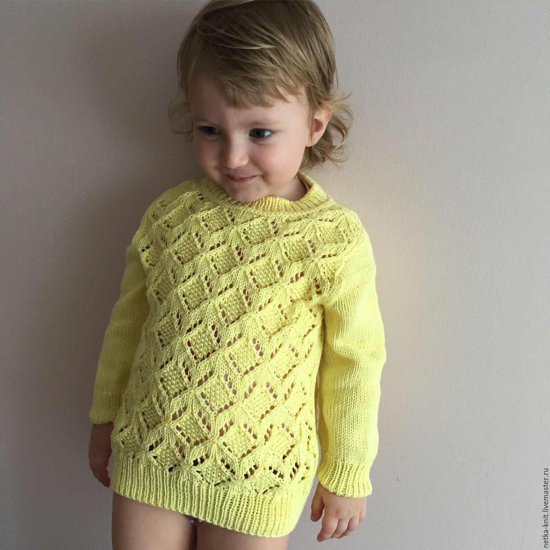 Пуловер спицами для девочки