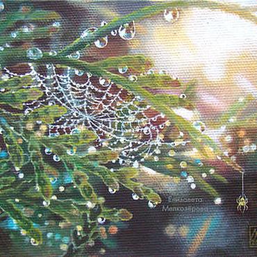 """Картины и панно ручной работы. Ярмарка Мастеров - ручная работа Картина """"Паутинка"""" живопись капли паук солнце. Handmade."""