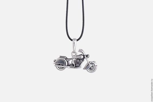 Мотоцикл Indian.  CRAZY SILVER ™ Кулон ручной работы из серебра 925, максимальная детализация, масштабная копия американского мотоцикла Indian