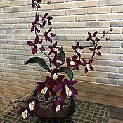 Зеркала ручной работы. Ярмарка Мастеров - ручная работа Композиция с Орхидеями из полимерной  глины. Handmade.