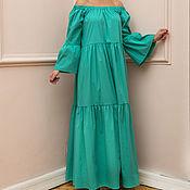 Одежда ручной работы. Ярмарка Мастеров - ручная работа Зеленое летнее длинное макси бохо платье ручной работы. Handmade.