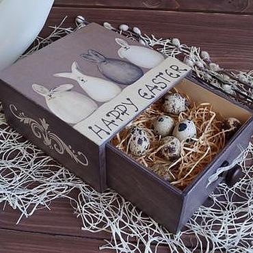 """Подарки к праздникам ручной работы. Ярмарка Мастеров - ручная работа Пасхальный короб """"Шоколадные зайцы"""". Handmade."""