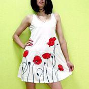 Одежда ручной работы. Ярмарка Мастеров - ручная работа платье маки красные (роспись). Handmade.