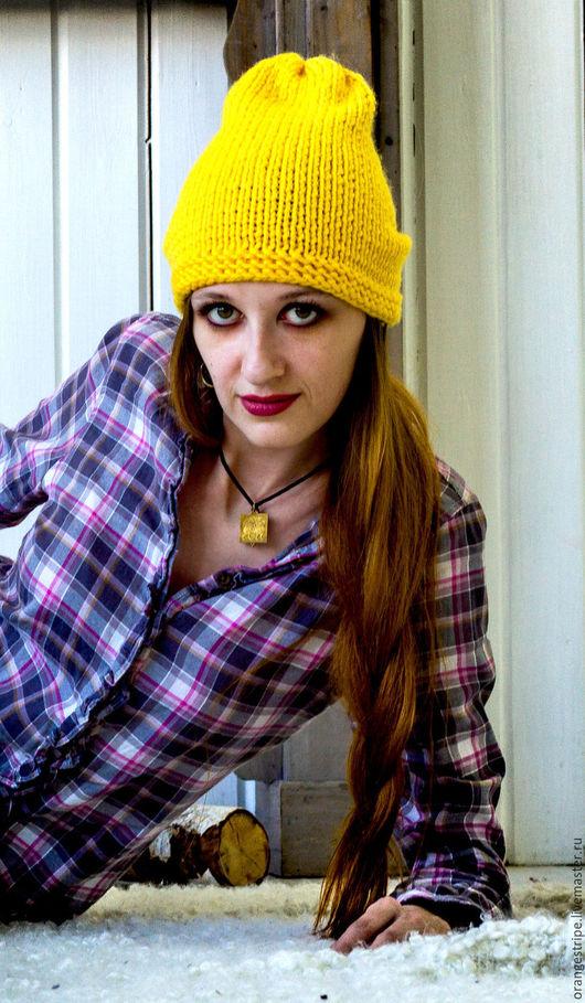 """Шапки ручной работы. Ярмарка Мастеров - ручная работа. Купить Вязаная шапка """"Лимончик"""". Handmade. Желтый, шапка стильная, тепло"""