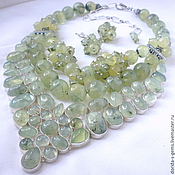 Украшения handmade. Livemaster - original item Necklace 3 strands and earrings - prehnite beads.. Handmade.