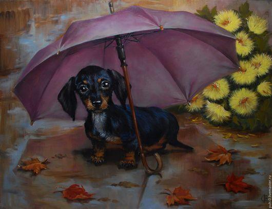 Животные ручной работы. Ярмарка Мастеров - ручная работа. Купить такса под зонтом. Handmade. Фиолетовый, такса, зонт, осень