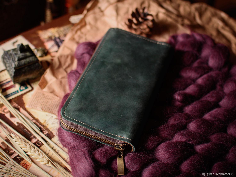 Кошелек женский кожаный на молнии DAISY изумрудного цвета, Кошельки, Тула,  Фото №1