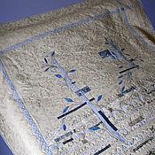 """Для дома и интерьера ручной работы. Ярмарка Мастеров - ручная работа покрывало """"голубые листья"""". Handmade."""