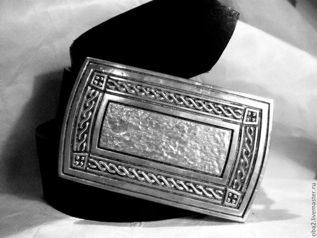 Авторский ремень из кожи Серебряный орнамент, Ремни, Санкт-Петербург,  Фото №1