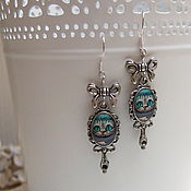 Украшения handmade. Livemaster - original item Earrings Cheshire cat Bow Silver Alice in Wonderland Vintage Tale. Handmade.