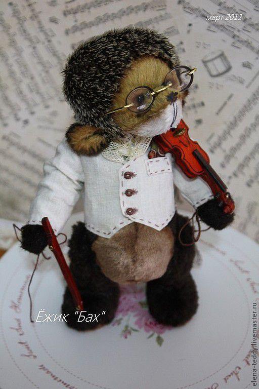 """Мишки Тедди ручной работы. Ярмарка Мастеров - ручная работа. Купить Ёж """"Бах"""". Handmade. Бежевый, мишки тедди, скрипач"""