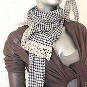 Одежда ручной работы. Ярмарка Мастеров - ручная работа Юбка коричневая  длинная.многоярусная в клеточку шелк и вискоза. Handmade.