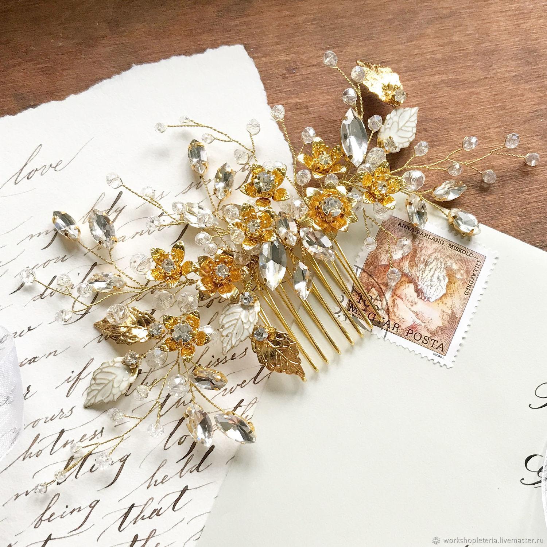 Гребень для прически с цветами и листьями, гребень для невесты, Украшения, Санкт-Петербург, Фото №1