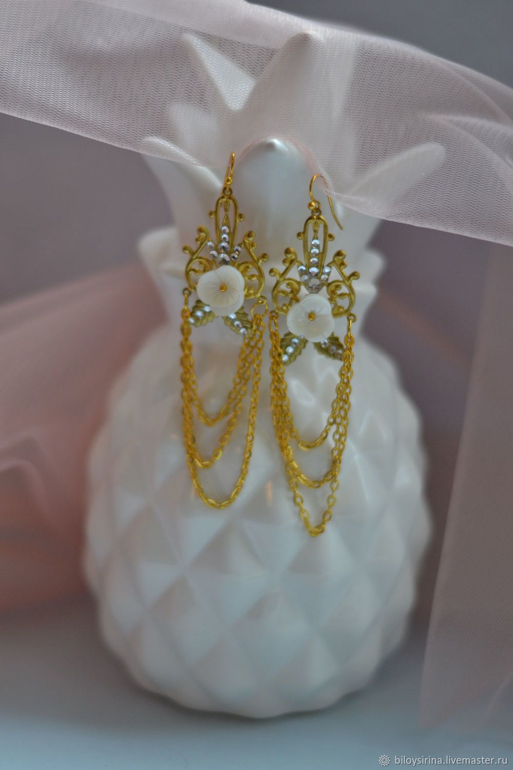 Earrings with mother of pearl and pearls, Earrings, St. Petersburg,  Фото №1