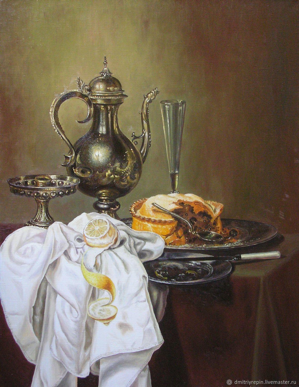 Натюрморт с серебряным кувшином и пирогом, Картины, Исилькуль,  Фото №1
