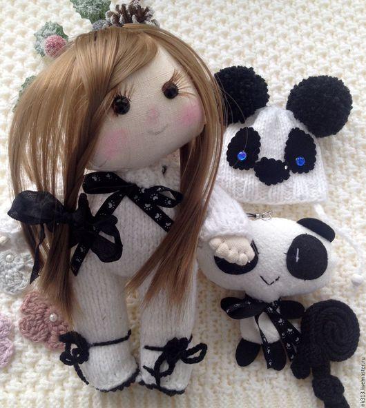 """Человечки ручной работы. Ярмарка Мастеров - ручная работа. Купить """"Малыши Панды"""". Пупс с одеждой и игрушками. Handmade. Белый, кукла"""