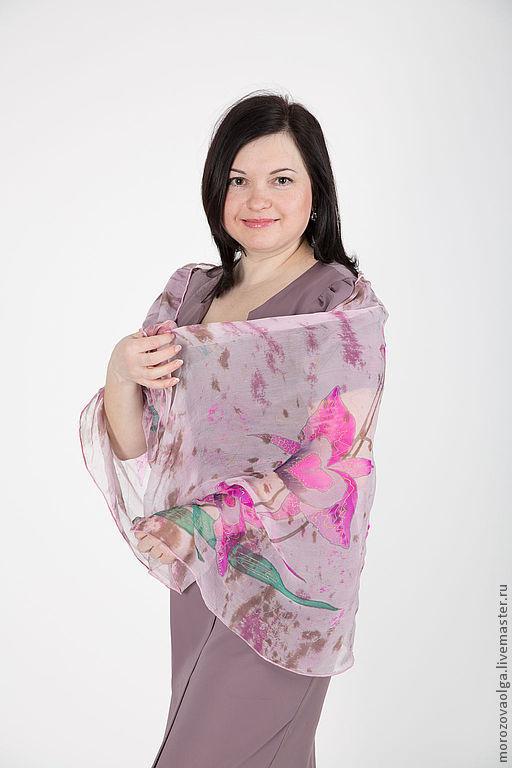"""Шали, палантины ручной работы. Ярмарка Мастеров - ручная работа. Купить Батик шарф """"Розовые орхидеи"""". Handmade. Цветочный"""