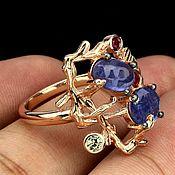 Rings handmade. Livemaster - original item Ring with magnificent tanzanite cabochon 7h5 mm(p 17,75). Handmade.