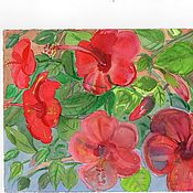 Картины и панно ручной работы. Ярмарка Мастеров - ручная работа Красный гибискус-3.. Handmade.