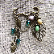 Украшения handmade. Livemaster - original item Vintage Pin Brooch emerald green Rain Drops in the Forest Owl Acorn Grove. Handmade.