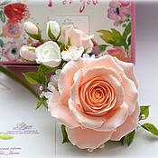 """Украшения ручной работы. Ярмарка Мастеров - ручная работа Брошь """"Cream roses"""" с цветами ручной работы. Handmade."""