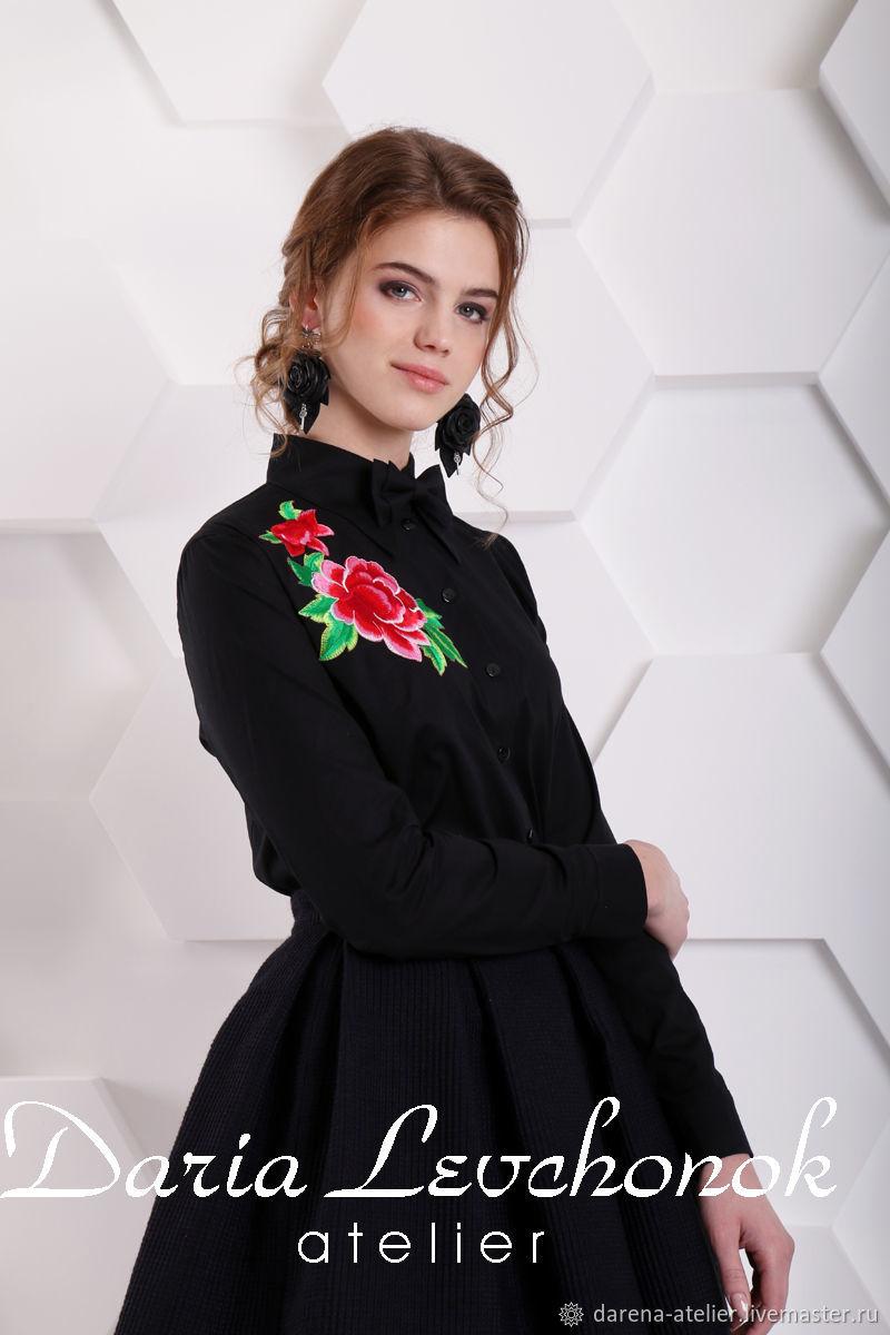 e7f718b5437 Блуза-рубашка Роза (черный) – купить в интернет-магазине на Ярмарке ...