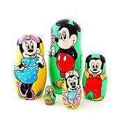 Русский стиль ручной работы. Ярмарка Мастеров - ручная работа Матрешка Микки Маус, детская мультяшная игрушка. Handmade.