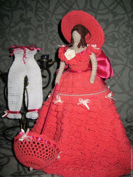 "Народные куклы ручной работы. Ярмарка Мастеров - ручная работа. Купить Вязаная кукла ""Южная красавица"". Handmade. Коралловый, фуксия"