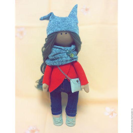Коллекционные куклы ручной работы. Ярмарка Мастеров - ручная работа. Купить Интерьерная текстильная кукла. Handmade. Ярко-красный