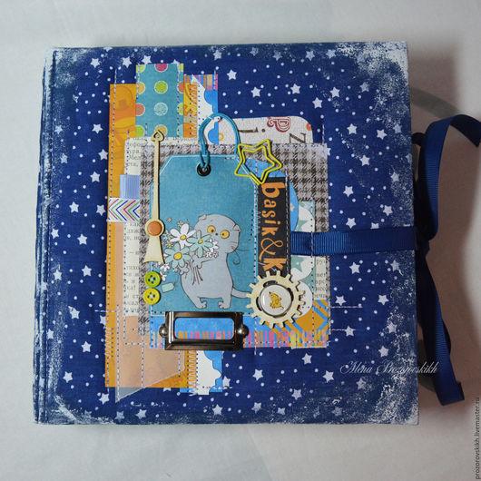 Подарки для новорожденных, ручной работы. Ярмарка Мастеров - ручная работа. Купить Альбом для мальчика. Handmade. Синий, альбом ручной работы